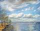 Ross Barnett boat and pier landscape oil painting by Yoyita