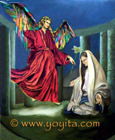 Annunciation Luke 1:27 To a virgin espoused to a man whose name was Joseph, of the house of David; and the virgin's name was Mary.  Luke 1:28 And the angel came in unto her, and said, Hail, thou that art highly favoured, the Lord is with thee: blessed art thou among women. Luke 1:38 And Mary said, Behold the handmaid of the Lord; be it unto me according to thy word. And the angel departed from her Sacred art, religious art, Catholic Art Oil painting © Dr. Gloria  M. Norris Yoyita Atelier Yoyita Art Gallery