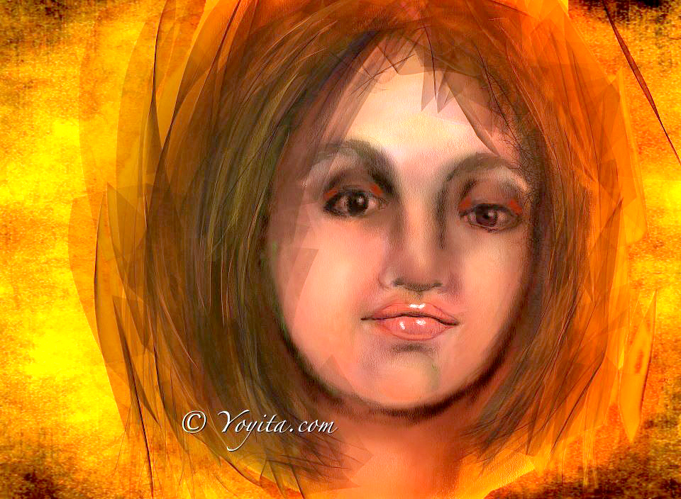 Fire female portrait digital