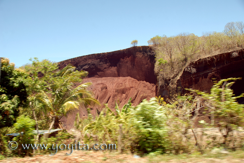 Different earth colors because of different minerals in the soil, exuberant tropical vegetation