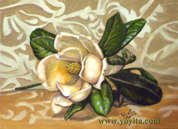 Magnolia flower oil painting  Dr. Gloria  M. Norris 