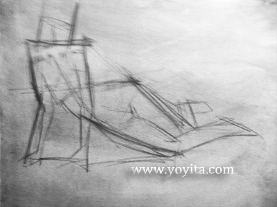 reclined female gesture drawing Atelier Yoyita