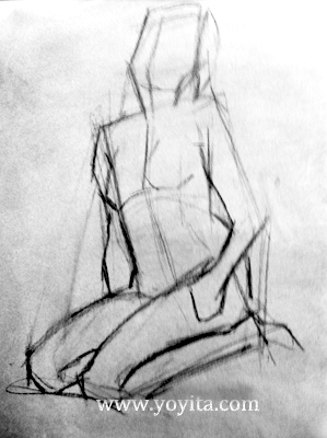 gesture drawing seated female Atelier Yoyita