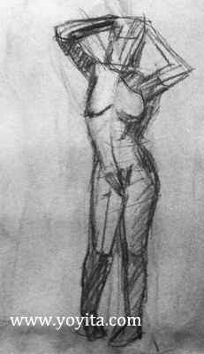 standing female gesture drawing Atelier Yoyita