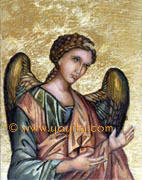 Archangel Michael icon, sacred art greek orthodox technique over gold leaf Atelier Yoyita Art Gallery