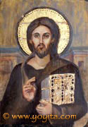 Christ Pantocrator sacred art greek orthodox technique over gold leaf Atelier Yoyita Art Gallery