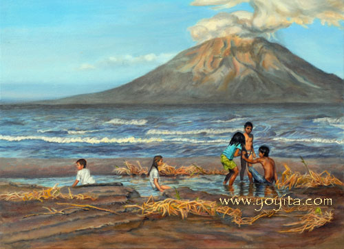 children playing in the sand with volcano