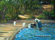 Washing clothes in the Lagune Landscape Nicaragua Atelier Yoyita