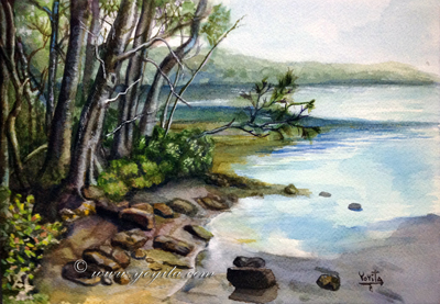 by the lake watercolor landscape by Yoyita