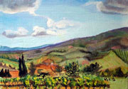 Tuscany landscape with house