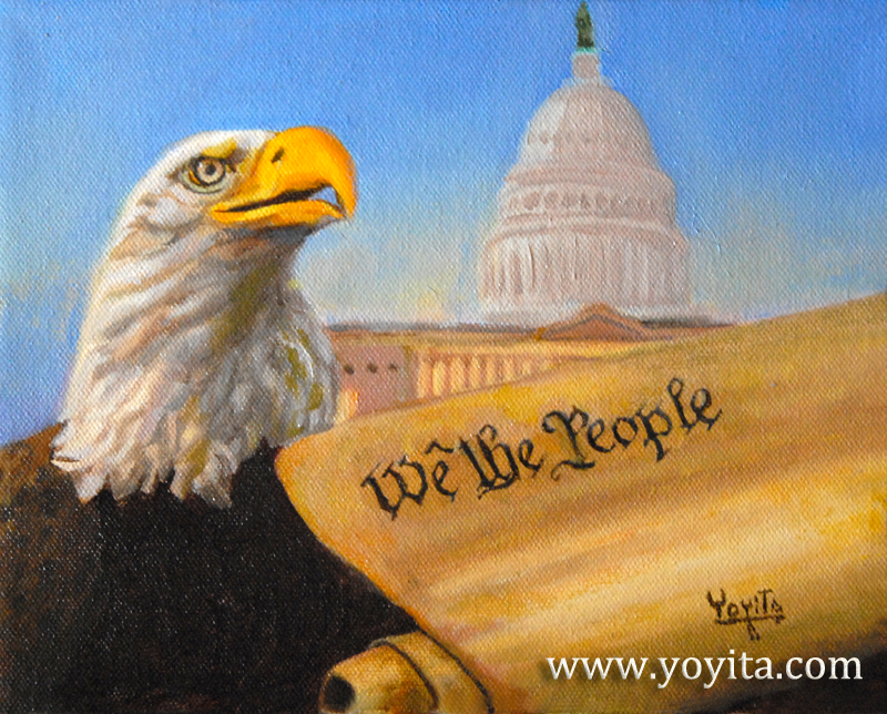 Law Freedom Rights, The bald eagle represent freedom, The capitol represent law, where the legislator write the law The constitution represent the rights for we the people,