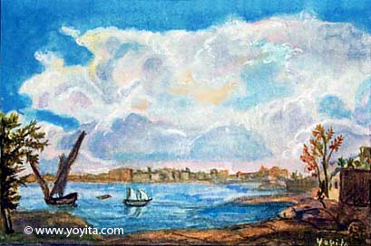 Landscape and water miniature watercolor painting © Dr. Gloria  M. Norris Yoyita