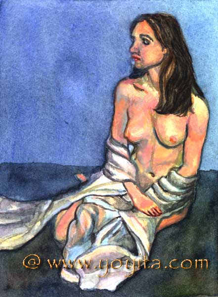 Miniature watercolor nude © Dr. Gloria  M. Norris