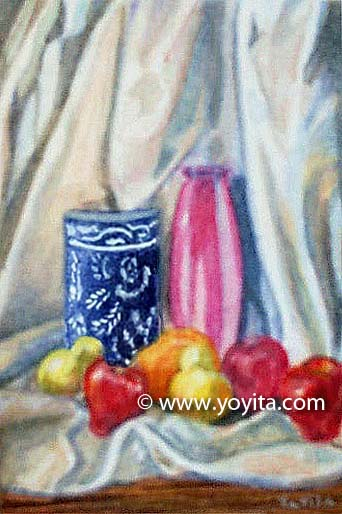 miniature still life painting  Dr. Gloria  M. Norris Yoyita