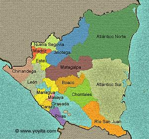 Mapa departamentos de Nicaragua