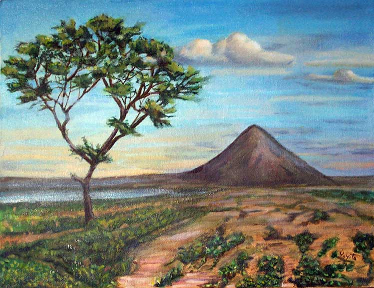 The volcano and the tree © Dr. Gloria  M. Norris Yoyita