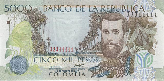 Jose Asuncion Silva billete de cinco mil pesos Colombianos