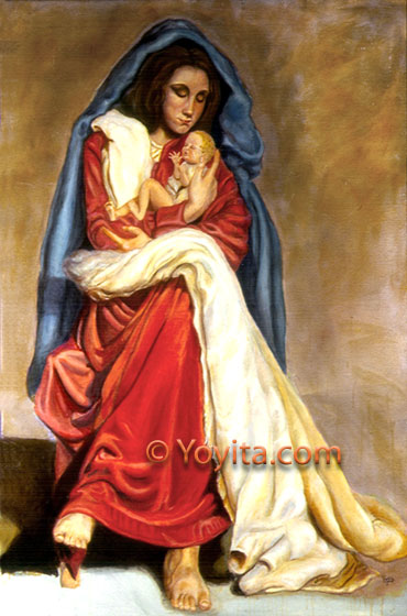 renaissance portrait Virgin of the naked feet, madonna and child sacred art © Yoyita