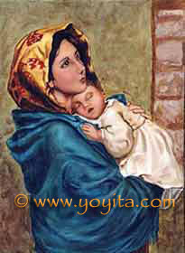 Renaissance style oil painting Madonna and child