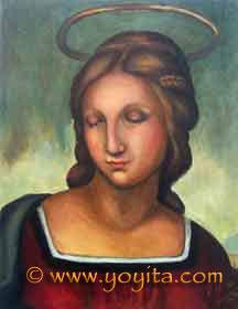 Madonna  After Raffaelo Sanzio Sacred art, religious art, Catholic Art oil painting Atelier Yoyita Art Gallery
