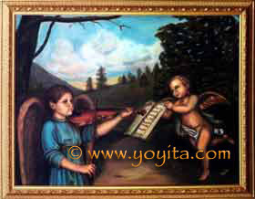 Renaissance style oil painting Violin, angels playing music
