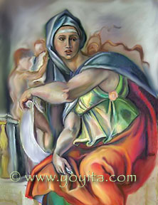 Delphic Sybil after Michelangelo Bunarotti Pastel on paper Atelier Yoyita Art Gallery