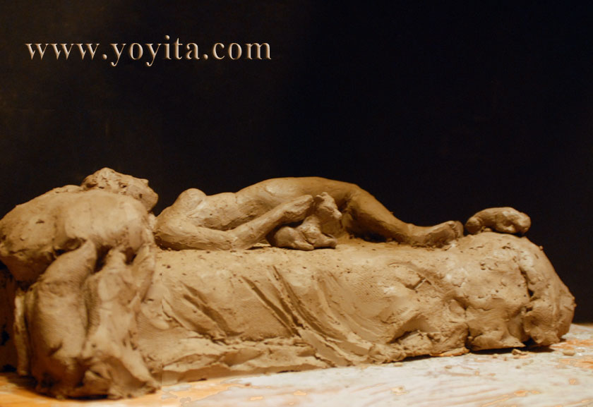 figurative sculpture female in bed