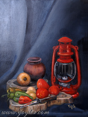 Breakfast still life, on two wooden cutting boards there is a clay jar for the coffee, onion peppers three eggs tomatoes an old knife and an old kerosene lamp, oil painting by Yoyita