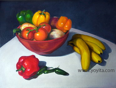 Glass red bowl with legumes bananas peppers and hot peppers still life oil painting by Yoyita