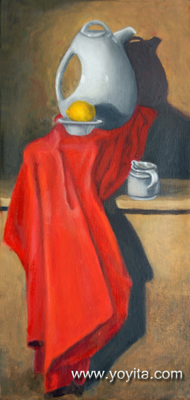 Still life with tea, lemon and red, oil painting by Yoyita Art gallery