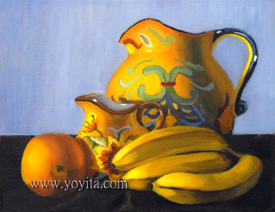 Still life jug and fruits by Yoyita