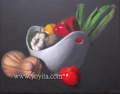 still life with white bowl and vegetables garlic peppers onions tomatoes oil painting by Atelier Yoyita Art gallery