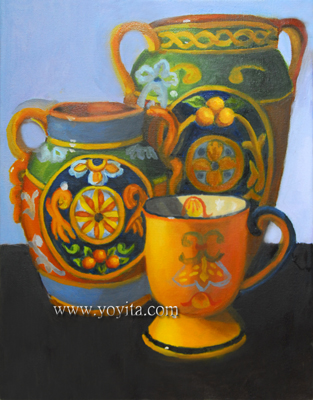 still life with two decorated Italian Earthenware Jars and a yellow cup oil painting by Yoyita