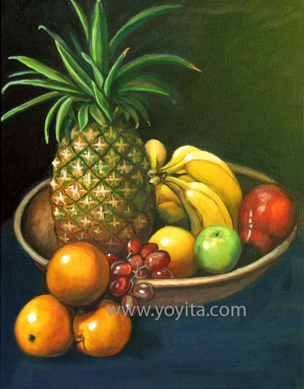 Still life with yellow pear, oil painting © Yoyita