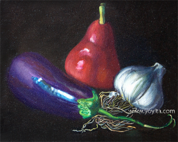 Still life with red pear by Yoyita oil painting by Yoyita art gallery