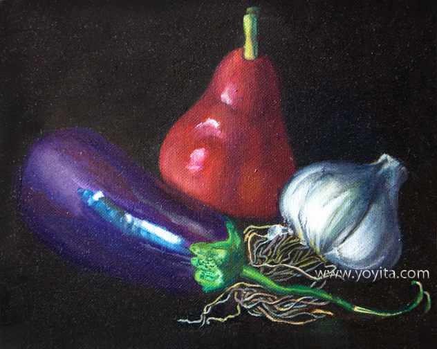 Still life with red pear, oil painting © Yoyita