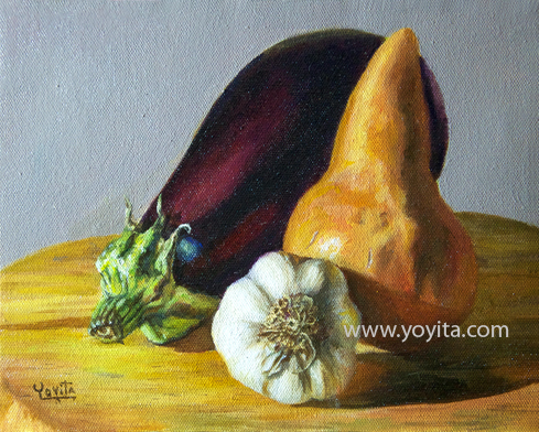 Still life with yellow pear by Yoyita