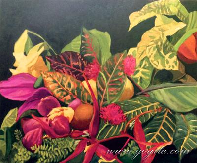 naturaleza muerta, hojas de colores y flores tropicales pintura al oleo de la galería de arte Yoyita