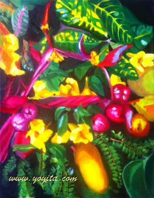 Still life bouquet of yellow flowers Small leaves fern and pink colors leaves oil painting by Yoyita Art Gallery