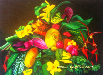 still life papaya ferns maraca ginger heliconia mango colored pink and green leaves yellow and red tropical flowers, oil painting by atelier yoyita, art gallery