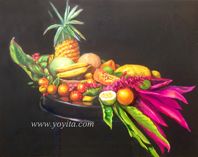tropical fruits and pineapple papaya, melon, oranges, granadilla, calala, bananos, still life, over a round wooden table, oil painting by Yoyita Art gallery