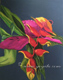 heliconia rostrata oil painting still life, tropical flowers art by Yoyita
