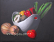 still life with bowl and vegetables oil painting by Yoyita, art, Nicaragua, Costa Rica, Maui, Hawaii, Puerto Rico