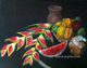 Still life tropical fruits watermelon cocconut flowers mango clay jar oil painting by Yoyita
