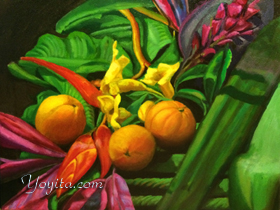 Orangen und Blumen Stillleben durch Yoyita