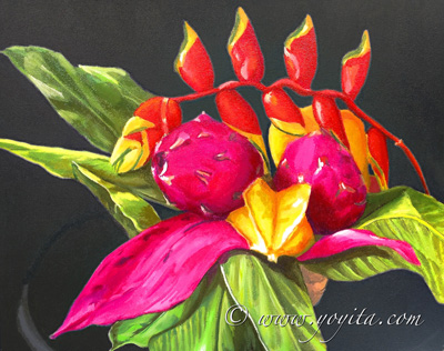 pitahaya dragon fruit tropical fruit, still life, exotic tropical fruit and flowers oil painting by Yoyita, Art gallery