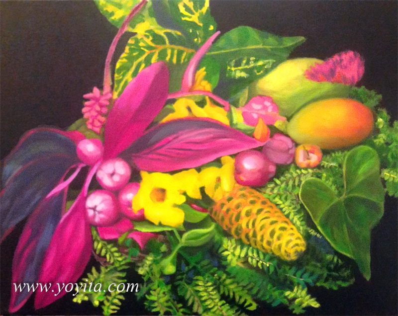 still life with ferns mango and maracas