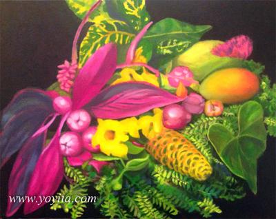 mangues encore fleurs jaunes vie fougeres rose feuilles colorees feuilles peinture a lhuile par Yoyita atelier