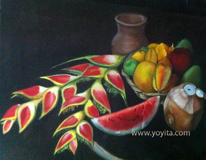 Still life with tropical flowers and fruits watermelon cocconut star fruit mango orange heliconia oil painting by Yoyita