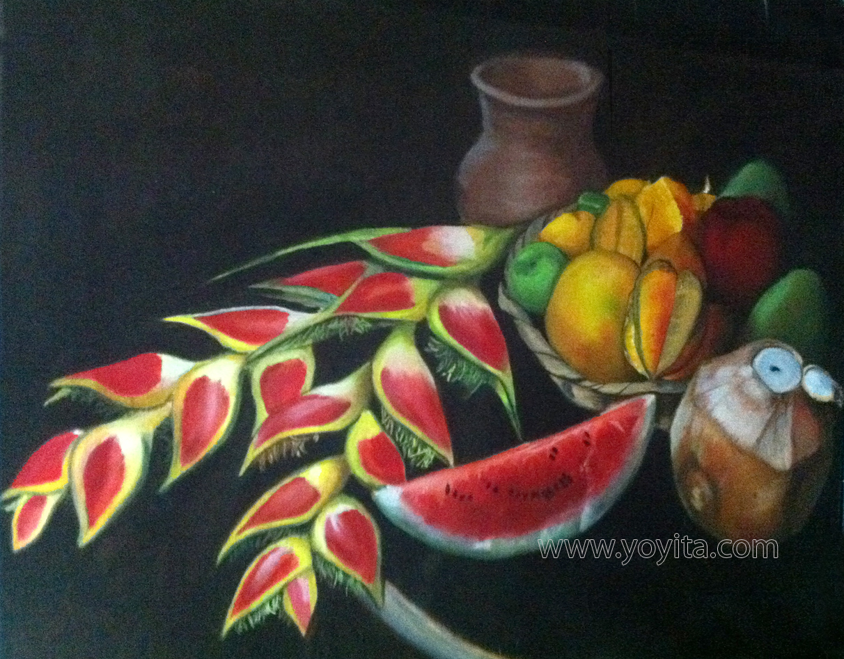 Still life with tropical fruits, oil painting © Yoyita